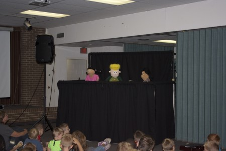 Our puppet friends talk about how the walls of Jericho fell down!